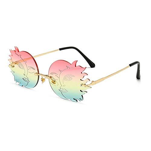 ZZOW Mode Randlos Einzigartige Polygonale Mond Smiley Sonnenbrille Frauen Vintage Gradient Lens Brillen Shades Uv400 Sonnenbrille Männer