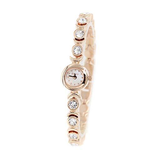 PAN Frauen Kristall-Akzent silbrig-Ton Armreif Uhr Schmuck Armband Armbanduhren (Color : Roségold)