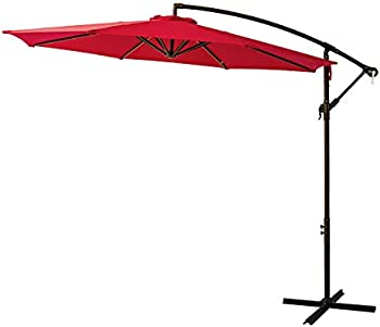FLAME & SHADE 10 ft Cantilever Hanging Offset Outdoor Patio Umbrella