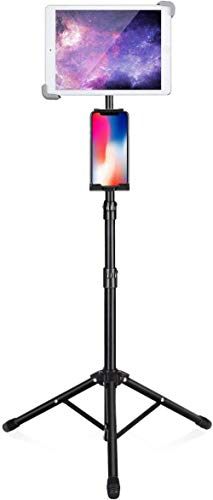 Mazu Homee IPad tripod stand, height 65.3 inches adjustable floor tablet stand, 360°rotating iPad stand, suitable for iPad Pro 12.9 / 11, Ipad Air 10.5 inches, and tablets above 14.5 inches