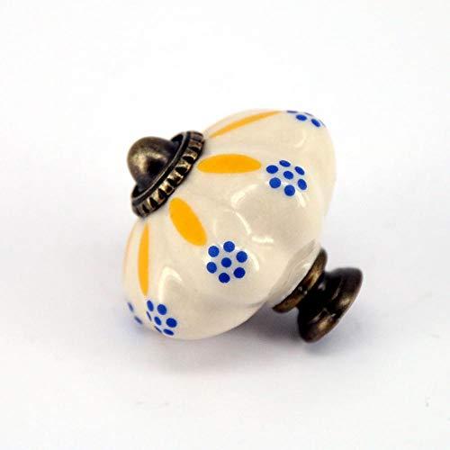 Deur Levers Retro Handbeschilderde Vintage Klassieke Keramische Knopen Geel en Blauw Porselein Deurkruk Ladekast A