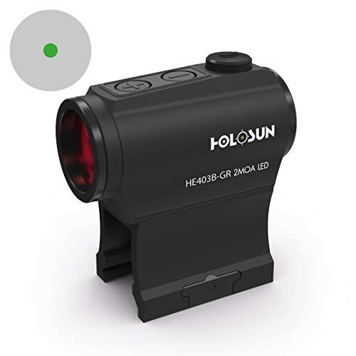 Holosun Elite HE403B-GR Microdot Grünpunkt Visier mit 2MOA Punkt Absehen, schwarz, Picatinny/Weaver Schiene, für die Jagd, Sportschießen und Softair, Tactical Micro Green do… - 70134568