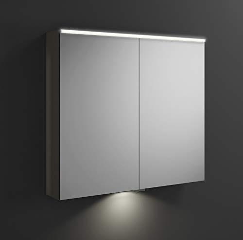 Burgbad Eqio Spiegelschrank mit Horizontaler LED-Beleuchtung und LED-Waschtischbeleuchtung SPGT090, Breite: 900mm, Korpus: Grau Hochglanz - SPGT090F2010