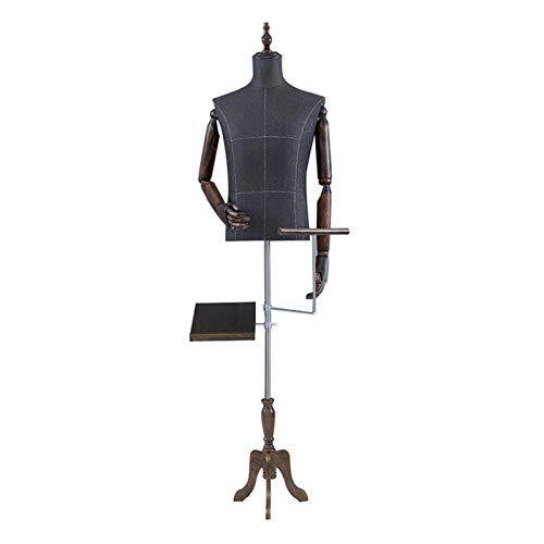 CAIJUN Maniquí, Vestido Forma Torso con Brazo De Madera Desmontable Mostrar Ropa Traje For Tienda, Zapatero Perchero For Pantalones (Color : C)