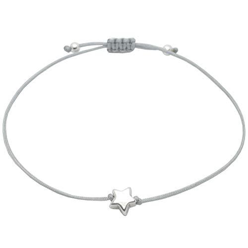 Pulsera de plata con diseño de estrella, pulsera gris de la suerte para mujer, hecha a mano