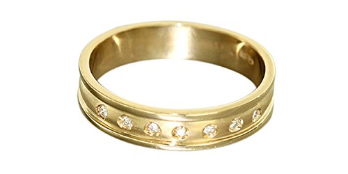 Hobra-Gold Massiver Bandring - Ring Gold 585 mit 7 Brillanten - edler Goldring Brillantring (59 (18.8))