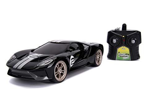 Jada Toys Big Time Muscle Hyperchargers RC - 2017 Ford Gt, USB Charging, Glossy Black with White Stripes, 2