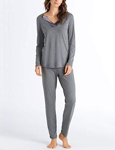 Hanro Damen Fenja Pyjama 1/1 Arm Zweiteiliger Schlafanzug, Grau (Stone Melange 071119), 36 (Herstellergröße: XS)