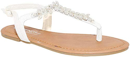 TRENDSup Collection Womens T-Strap Buckle Flats Sandals (10, White PU)