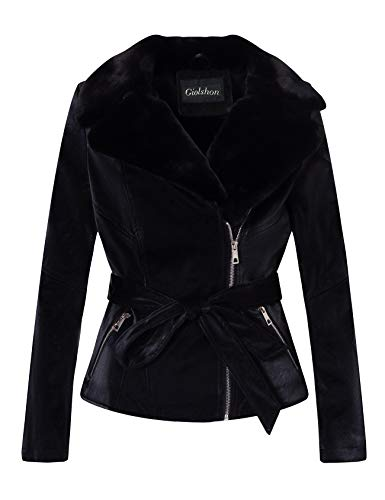 Giolshon Damen Kunstleder Moto Short Jacke Gürtel, Der Mantel mit Kunstpelz Kragen 9440 Schwarz X-Groß