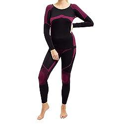 Gomati Damen Thermo Unterwäsche Set Seamless Funktionswäsche schnelltrocknend - Pink L-XL