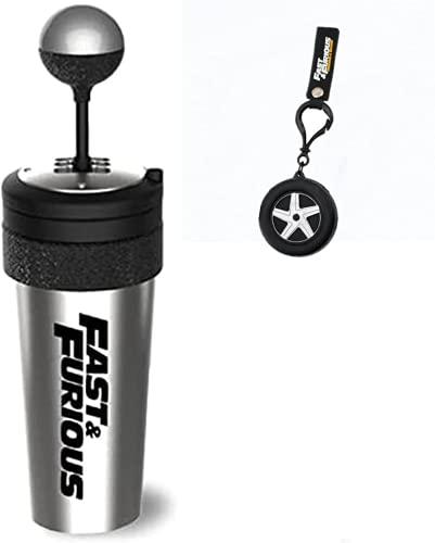 BSKM Fast and Furious 9 Water Cup - Shift Lever Style Cupsand Shifter Keychain, 600Ml De Capacidad con Paja Y Tapa, Mejor Regalo para Los Fanáticos De Las Películas Tazas y llaveros de neumáticos
