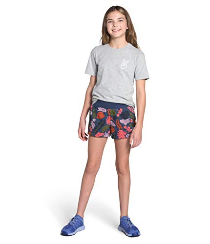 The North Face Girls' Logowear Short, Lavender Mist WallFlower Print, M