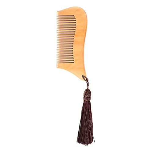 HENGSONG Peigne À Cheveux Avec Gland - Bois Avec Brosse Antistatique Et Sans Accroc Pour La Barbe, Les Cheveux, La Moustache, La Couleur Du Café