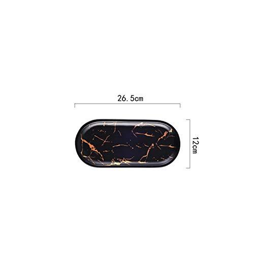 Los mejores esmaltes de mármol de oro Juego de vajilla de fiesta de cerámica Platos de desayuno de porcelana Platos Tazón de fideos Taza de café Taza para decoración-26.5cm Negro-