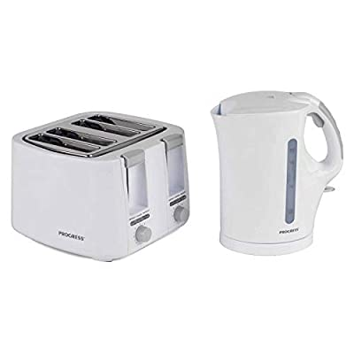 PROGRESS COMBO-3654 1.7 Litre Immersed Kettle with 4 Slice Toaster, White/Grey