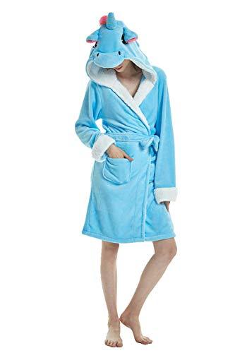 Einhorn Schlafanzug Damen Winter Pyjama Bademantel Flanell Tiere Ankleiden (M: (Passend für Höhe 150-165 cm), Einhorn - Blau)