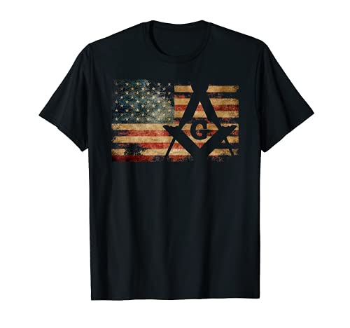 Vintage US Mason Flag Square and Compass Masonic Shriner T-Shirt
