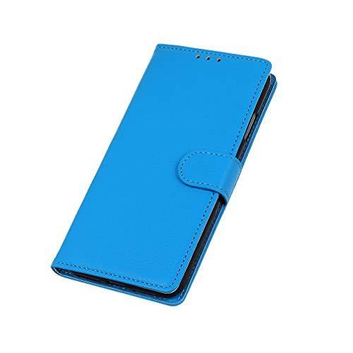 HAOTIAN Hülle für ZTE Axon 11 SE 5G Hülle, Flip Wallet Hülle Cover, [Flip Stand/Kartensteckplatz] Anti-Rutsch Leder PU Handyhülle Schutzhülle mit Magnet/Geldbörse/Halter, Blau