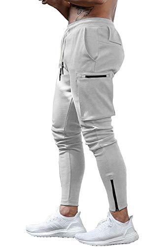 Yidarton Hose Herren Jogginghose Trainingshose Sporthose Fitness Slim Fit Sweatpants Freizeithose Jogger Männer Pants (Hellgrau, Small)