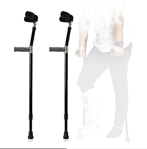 YXW Muletas Ajustables para Adultos, muletas de antebrazo con puño anatómico, Bastón de Codo de Aluminio para Hombres y Mujeres, Negro, Carga 100 kg, 1 par