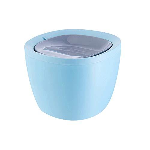UNU_YAN Mini Desktop Trash Can Accueil Salon Petit Bureau Table Cute Girl Chambre Creative Secouer Couverture avec Couvercle (Color : Blue)