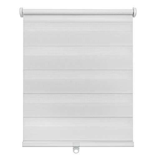 Lichtblick Doppelrollo Klemmfix, 60 x 150 cm (B x L) in Weiß, ohne Bohren, schnurloses Duo Rollo, moderner Sicht- und Sonnenschutz, lichtdurchlässig & Blickdicht