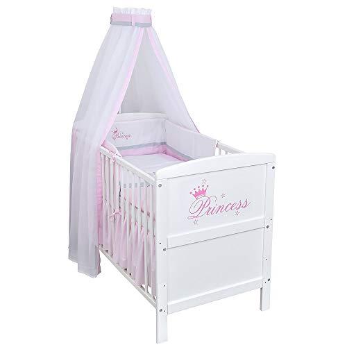 Baby Delux Babybett Kinderbett Juniorbett Komplettbett Princess Weiß 140×70 inkl. Matratze und Bettwäsche mit Stickerei