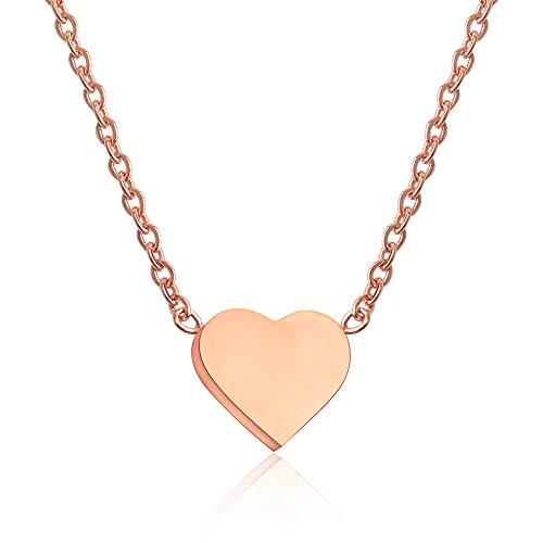 GD GOOD.designs EST. 2015 ® Damen Halskette mit kleinem Herz-Anhänger (Gold) Herz Kette ohne Gravierung