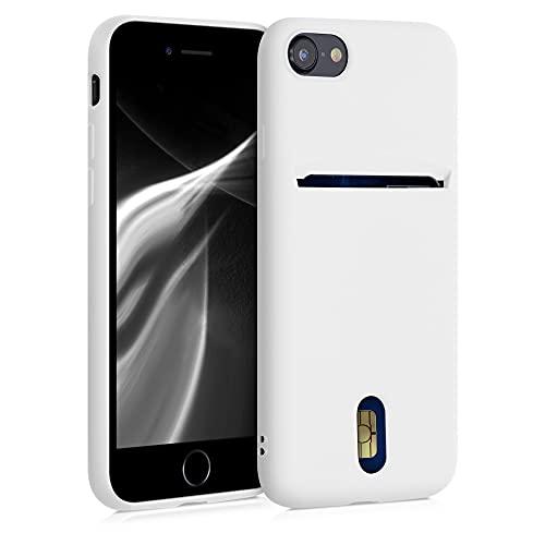 kwmobile Funda Compatible con Apple iPhone 7/8 / SE (2020) - Carcasa de Silicona con Tarjetero y Acabado de Goma - Blanco