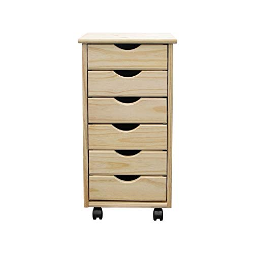 Solid Wood 6 Drawer Roll Cart Unfinished Natural Modern Contemporary Finish