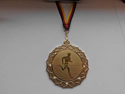 Fanshop Lünen Medaillen - Medaille - Größe Stahl 70mm - mit Emblem 50mm - (Gold) - Laufen - Lauf - Volkslauf - Leichtathletik - mit Medaillen-Band - (e111) -