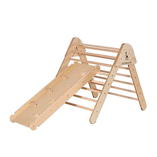 Montessori Kid Pikler Dreieck Klettergerüst Kinderzimmer Kletterdreieck Erweiterbar mit passender Rutsche Pickler Dreieck Klappbar Sprossenwand Kletterwand extra groß 90x 90x 80cm