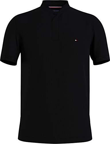 Tommy Hilfiger Herren Baseball Collar Slim Polo Polohemd, Schwarz, M