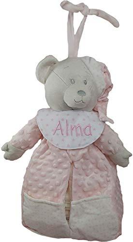Pañalera personalizada con el nombre del bebé bordado a máquina. Rosa