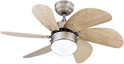 Westinghouse Lighting 7224000 Turbo Swirl Indoor Ceiling Fan with Light, 30 Inch, Brushed Nickel