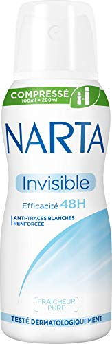 Narta Invisible Compressed Deodorant gegen weiße und gelbe Flecken, effektiv, 48 Stunden, 100 ml, 1 Stück
