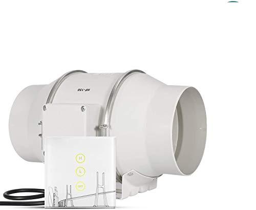 HG Power Ventilador de salida de aire Ventilador Extractor 150 mm, Ventilador de canal, regulador de velocidad inteligente, ahorro de energía, para ventilación