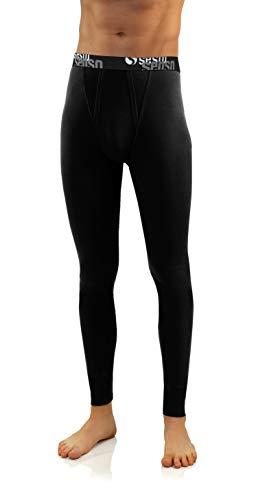 Sesto Senso® Caleçon Long Coton 95% Pantalon sous-Vêtements Bas Thermique Homme (L, Noir)