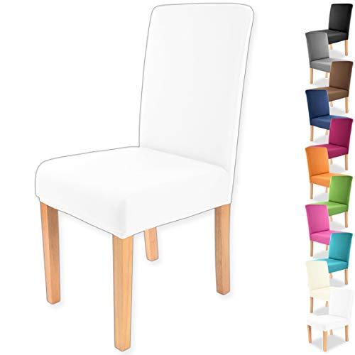 Gräfenstayn® Funda para sillas elásticas Charles - respaldos Redondos y angulares - Ajuste bi-elástico con Junta Oeko-Tex Standard 100:'Confianza verificada (Blanco)