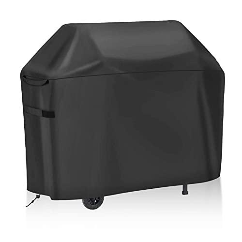 Funda de Barbacoa, Cubierta de Parrilla Resistente al Aire Libre Paño Oxford con Almacenamiento Impermeable Antióxido Anti-UV Resistente a la Decoloración 145 * 61 * 117 cm Negro Grande,420d