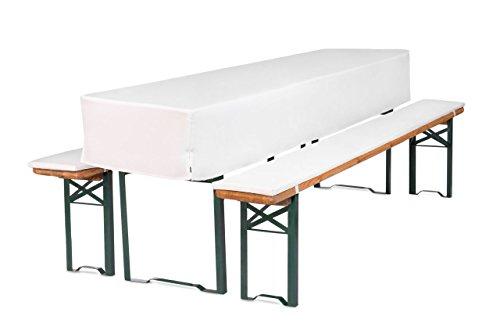 TexDeko GmbH Bierbankauflagen mit Tischhusse 2cm halblang 3TLG. Set für Bierzeltgarnitur (Schaumstoff Extra Stark RG30/50) (220x50x30cm) in Weiß