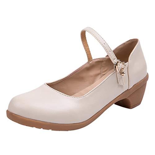 Tefamore Zapatos De Baile TacóN Medio Mujer Hebilla
