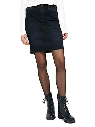 Tom Tailor 1024536 5-Pocket Jeansrock, 10173-Dark Stone Blue Black, 44 para Mujer