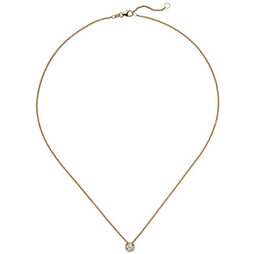 JOBO Damen Collier Kette mit Anhänger 585 Gold Rotgold 1 Diamant Brillant 0,25 ct. 45 cm