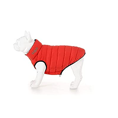 HUGO & HUDSON Dog Puffer Jacket - Clothing & Accessories for Dogs Reversible Warm Waterproof Dog Coat with Collar Attachment Hole - Red and Navy - M47