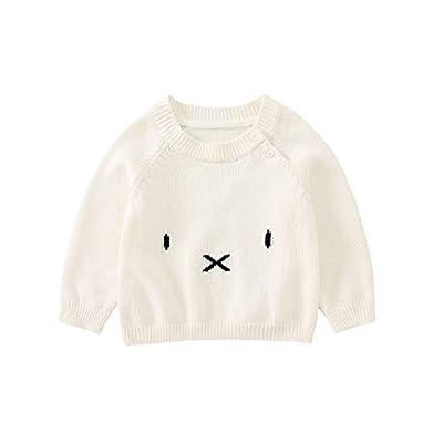 pureborn Infant Baby Boys Girls Unisex Sweater Pull on Closure O-Neck Cartoon Cat Outwear Ivory 1-2 Years