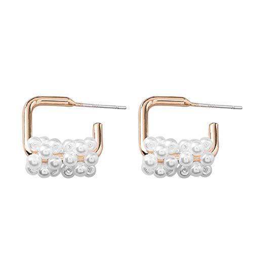 Yhhzw Pendientes De Aro De Lazo Con Perlas Simuladas Racimo De Uva Pendientes De Aro Llamativos De Color Dorado Para Mujer