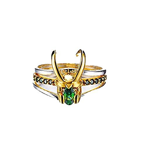 XLTWKK Loki anillo, tres en uno de plata 925 Thor anillo, Loki anillo pendientes para Loki Cosplay colección de vestuario, anillo creativo de regalo para hombres y mujeres (A)