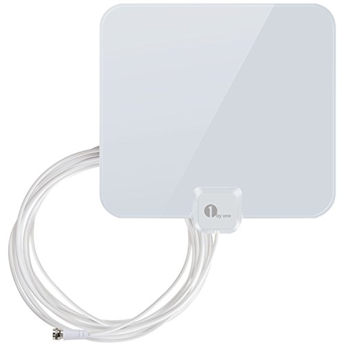 TV Antenna - 1byone Thin and Shiny Indoor Hdtv Antenna, Indoor TV Digital HD Antenna 4K HD Freeview Life Local Channels with 16.5 Feet Extra Long High Performance Coaxial Cable